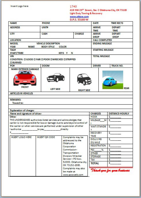 Car Storage Invoice Template