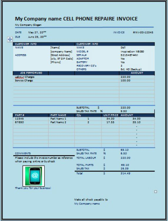 CellPhone Repair Invoice Company Name