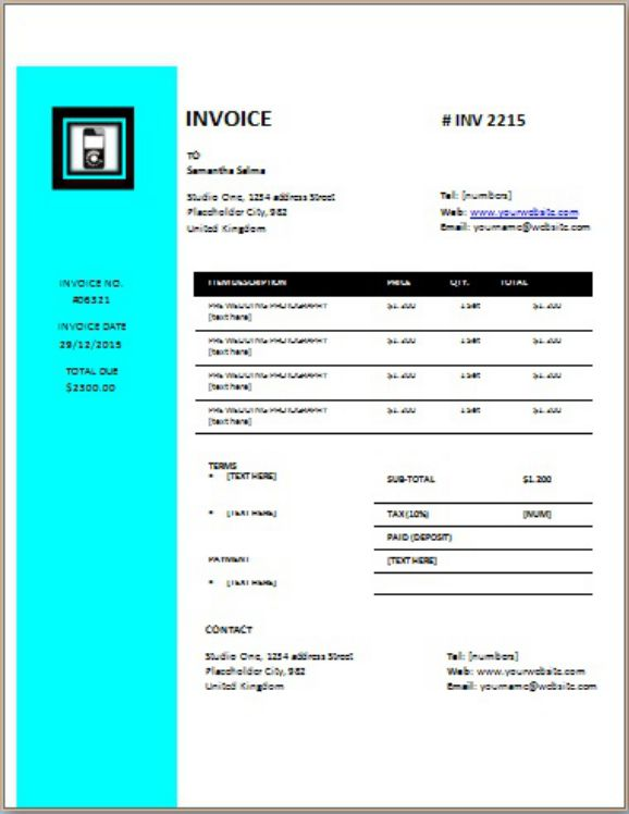 CellPhone Repair Invoice Data