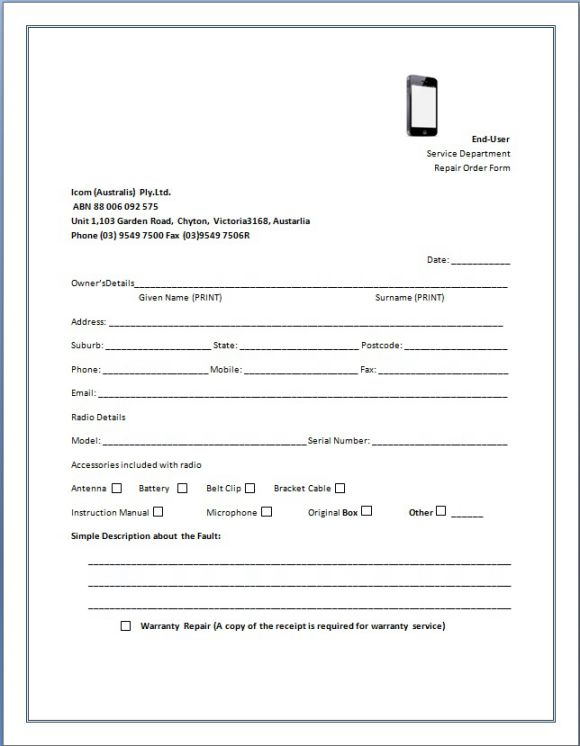 CellPhone Repair Invoice Service