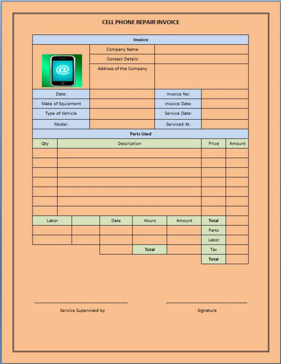 CellPhone Repair Invoice Service Template