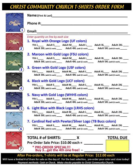 Church T-Shirt Order Form 2