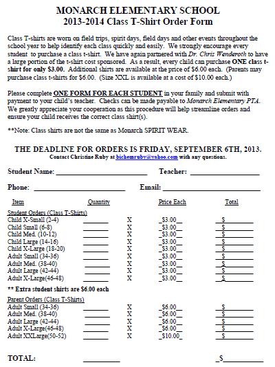 Class T-Shirt Order Form 2