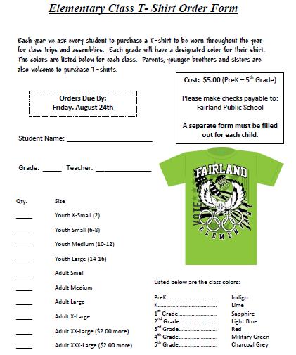Class T-Shirt Order Form