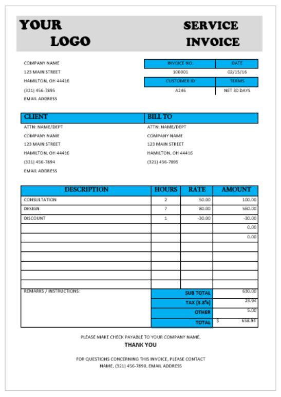 Consultant Service invoice