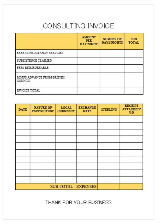 Consultant Service invoice Template