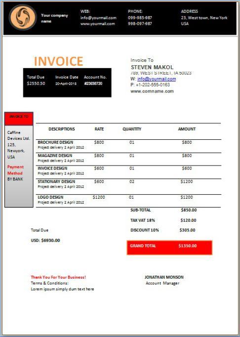 Consultant invoice Template