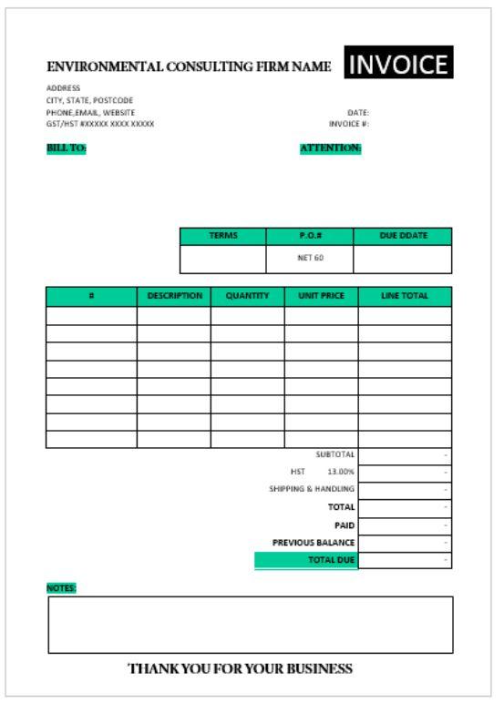 Consultation Invoice Template