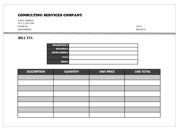 Consulting Servicing Company Invoice Template