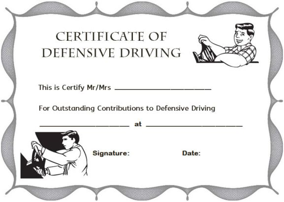 Defensive driving certificate template