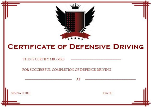 Defensive Driving Certificate
