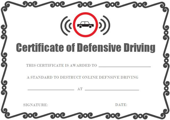 Defensive Driving Certificate Onlines