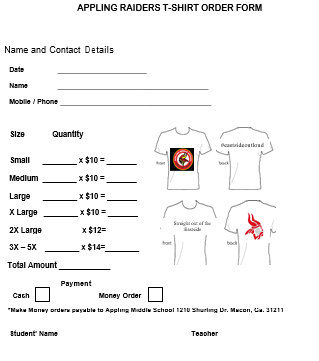 Easy T-Shirt Order Form