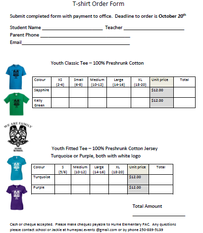 Easy T-Shirt Order Form 2