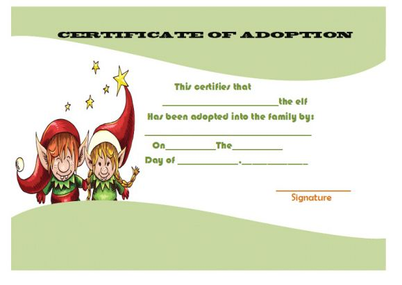 elf adoption certificate template - adoption certificate template 21 free certificates for