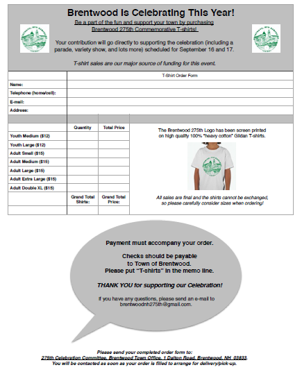 Generic T-Shirt Order Form Template