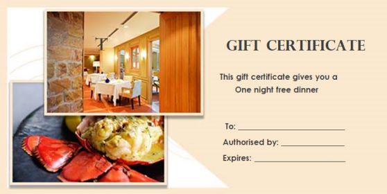 Gift Certificate dinner