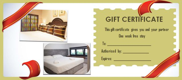 Gift Certificate free stay