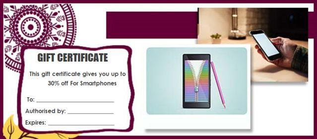 Gift Certificate phones