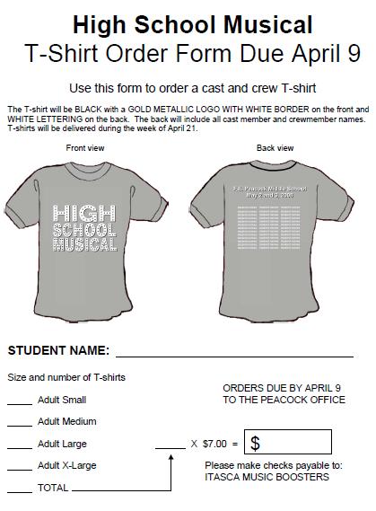 High School T-Shirt Order Form