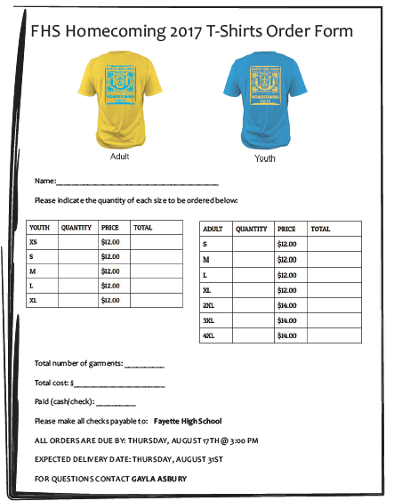 Homecoming T Shirt Order Form 1