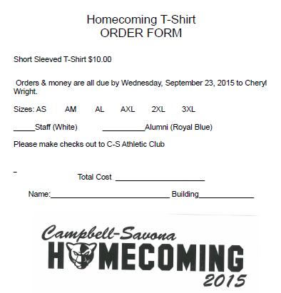 Homecoming T-Shirt Order Form 2