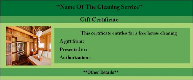 House cleaning certificate