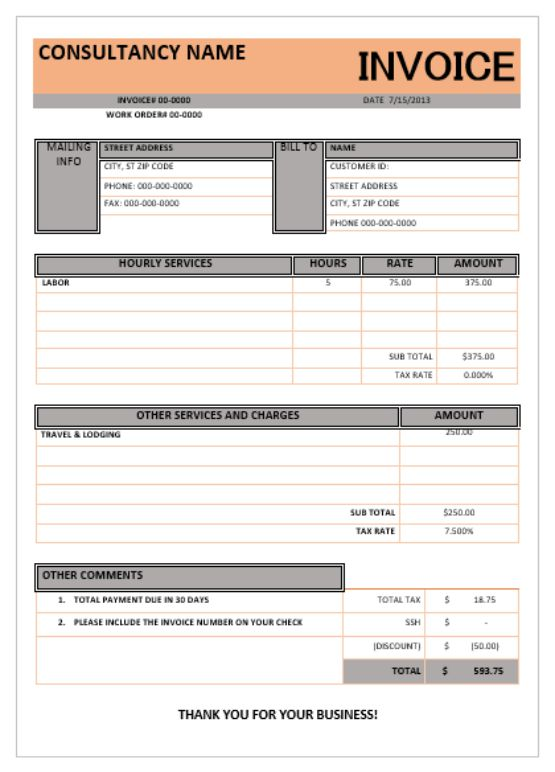 IT Consulting Invoice Template