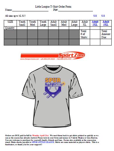 Little League T-Shirt Order Form 1
