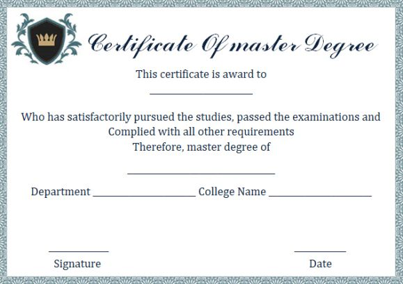 8 Awesome Free Printable Masters Degree Certificate Templates ...