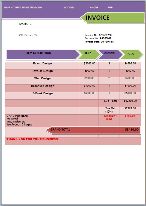 Medical Expense Invoice Templates