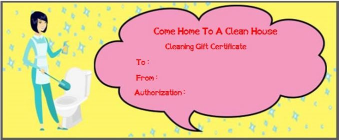 Free Printable House Cleaning Gift Certificate House Cleaning