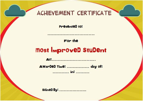 template most improved certificate template