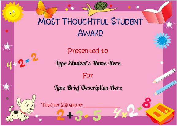 Most thoughtful student of the year award