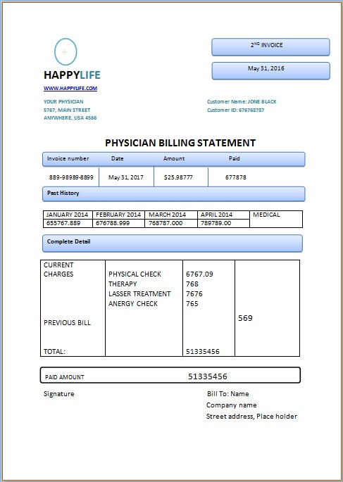 Physician Billing Statement