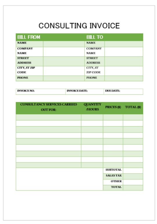 Proffessional Services Invoice Template