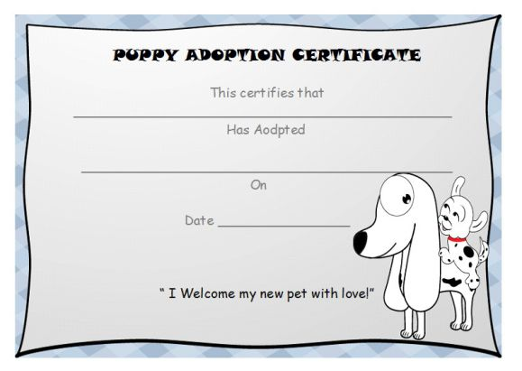 Puppy adoption certififcate