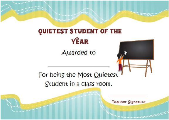 Quietest worker student of the year award