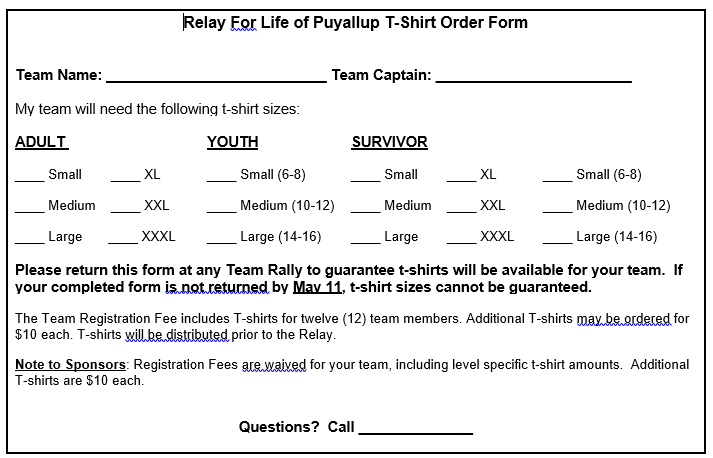 Relay For Life T-Shirt Order Form 1