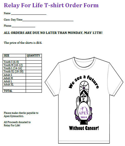 Relay For Life T-Shirt Order Form 2