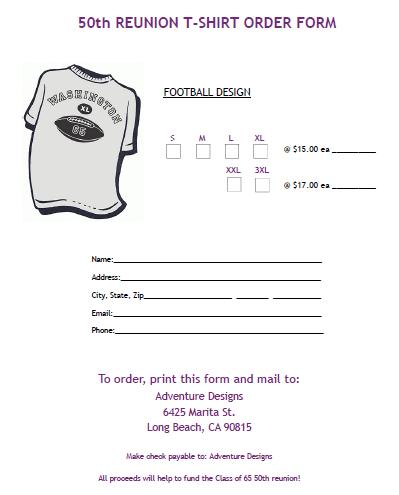 Reunion T-Shirt Order Form 2