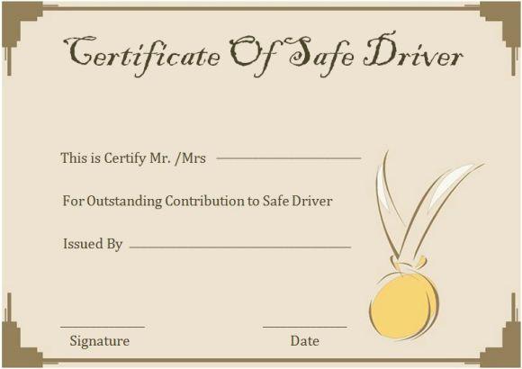 Safe Driver Certificates