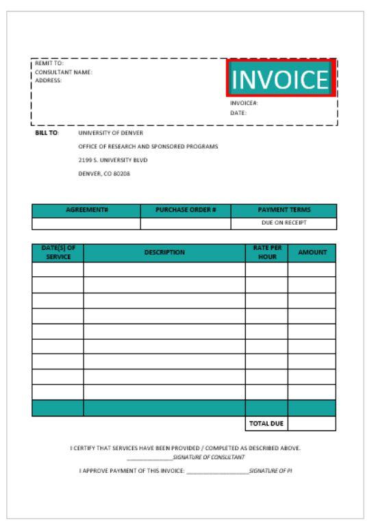 Sample Consultant invoice Template