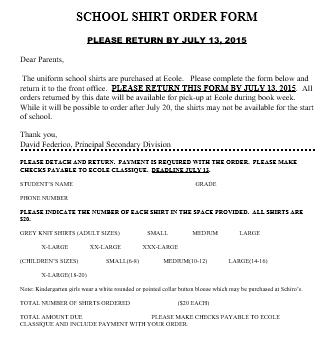 School Shirt Order Form 1