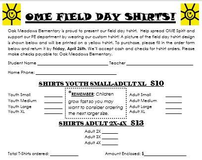 School Shirt Order Form 2