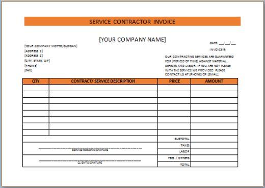 Service Contractor Invoice