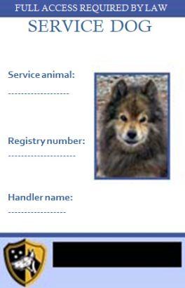 Service Dog Id Card