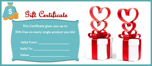 10 silent auction gift certificates easy to use templates demplates. Black Bedroom Furniture Sets. Home Design Ideas