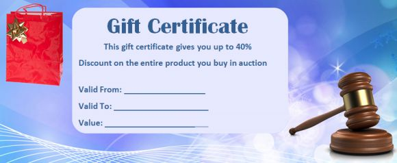 Silent Auction Gift Certificate samples
