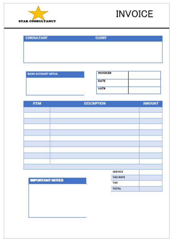 Star Consulting invoice Template